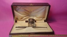 "Writing set ""Pen and inkwell"" 1800s, in silver and crystal"