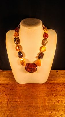Genuine old Baltic Amber Italian style mix colour short necklace, 91 grams