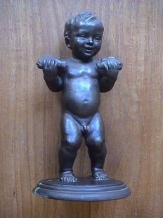 Boy with Two Fish - Bronze - Dark Patina - Signed on the Base A. Haag - around 1920
