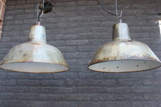 Industrial factory lights - enamel with beautiful patina, new wiring