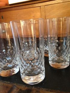 Baccarat France, 6 orangeade Baccarat crystal glasses, all stamped, in perfect condition