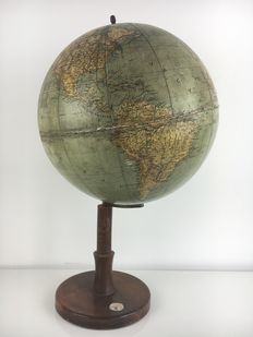'Roms Globus', Dr. Sandro Limbach - antique globe - on a beautiful wooden foot - with compass