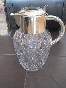"Val St.Lambert - carafe with cooling insert - ""Cold Duck"" - crystal glass  (cut and polished) - silver fittings"