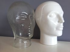One glass head and one ceramic head, ca. 1970, Netherlands,