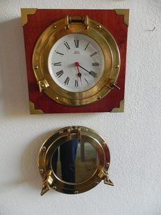 Beautiful clock in a porthole & Porthole with a mirror