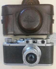 Leica II Ser.#179550 ( 1935) with Leitz Elmar f=5cm,w.Lthr.Case. All Items MINT !