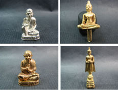 4 Buddhist amulets, 2 in Temple box's - Thailand - 1977, 1985, 1994 and 1996.