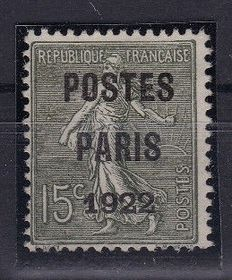 France 1922 - Pre-cancelled Paris 1922 Signed Calves - Yvert Pre-Cancelled no. 31