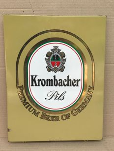 Metal advertising sign of Krombacher brewery, second half of the 20th century
