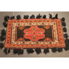 Old handwoven Oriental carpet, Kazak Caucasian Kazak salt bag middle of the last century, 83 x 46 cm, carpet Tapis Tappeto old rug