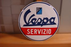 Piaggio - Vespa - rare enamel sign Vespa SERVICE - heavy shield AMAZING EDITION!
