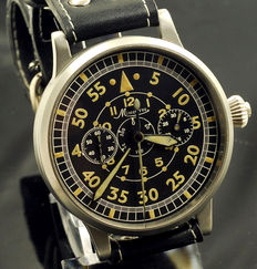 Minerva wristwatch 'marriage' of military/pilot chronograph and tachymeter from before 1950.