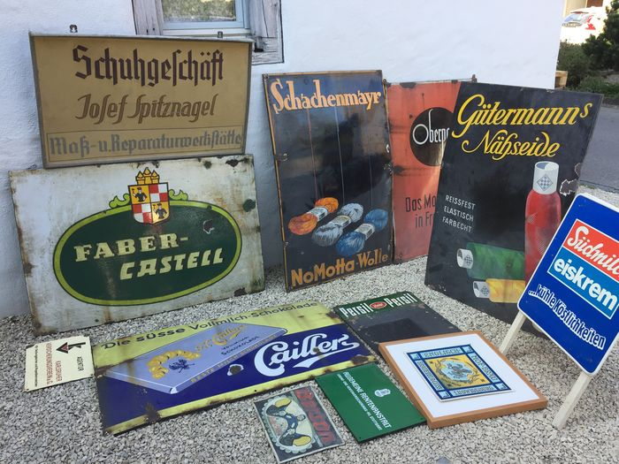 Advertising Museum Collection Of Enamel And Cardboard Signs Tin