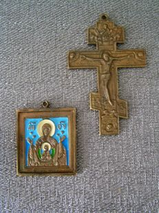 Two bronze objects - Icon and Orthodox cross - Russia - 20th century