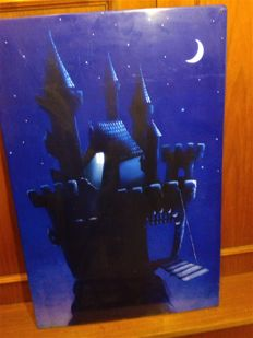 """Metal banner / poster. Patrick Heinicke - """"Fairytale Castle"""". Signed."""