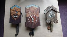 Lot of 3 clocks model painting/cuckoo - Period 1980