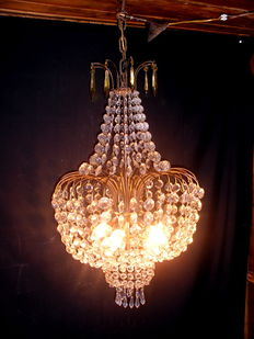 Large chandelier Balloon empire style with Bohemian crystal, beautiful vintage chandelier, 40s of the 20th century, Italy