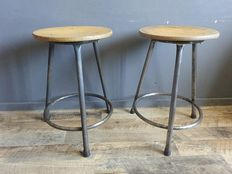Set of two studio stools with wooden seats