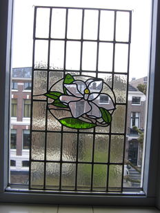 "Old beautiful large stained glass New-Classicism with mosaic Sun catcher ""Lily"" - circa 1880-1890 from Southern Netherlands."