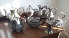 Job lot James Dixons & Walker Hall & old Sheffield maker coffees, teapots, jug water.
