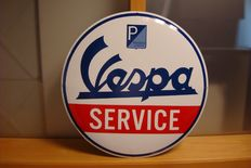 Piaggio - Vespa - very large!  Piaggio - Vespa - rare enamel sign Vespa SERVICE - heavy sign AMAZING EDITION!