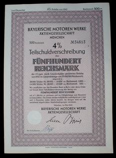 Germany - BMW 4% BMW 500 RM bonds Munich May 1942 not devalued