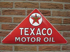 Enamel sign Texaco Motor Oil convex 60 x 32 cm