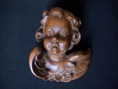 Beautiful putto/angel sculpture carved from cedar wood - France - circa 1900