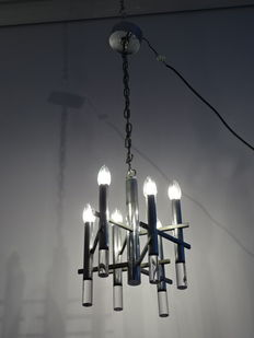 Steel hanging ceiling light, designed by Gaetano Sciolari