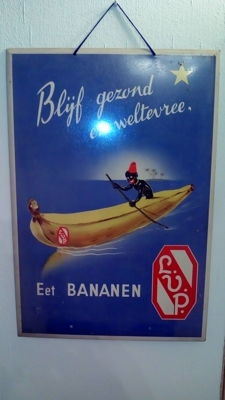 Metal advertising sign, Bananas L.V.P. - 1953
