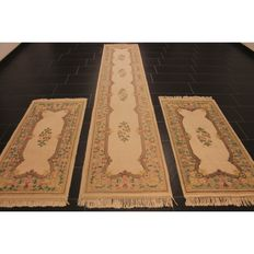 Schön Handgeknüpft China Art Deco Teppich 3 Teilige Bettumrandung Set Made in China 2X 150x70cm / 350x70 cm Carpet Tappeto Tapis Tapijt