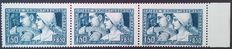 "France 1928 – Caisse d'Amortissement, 1.50 f + 8.50 f blue, the 3 types ""se tenant"", Baudot certificate – Yvert no. 252"