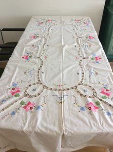 Tablecloth, hand embroidered white cotton with flowers