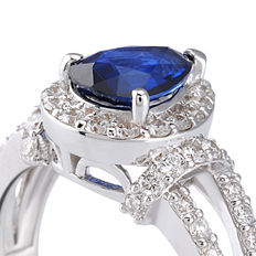18/750 white gold diamonds and sapphire ring, ring size 15/55