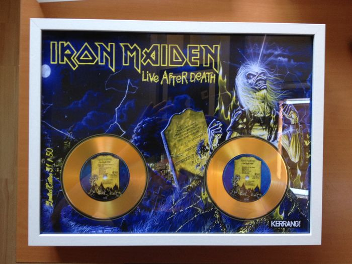 "Iron Maiden Double Gold Plated CD  Display "" Live After Death """