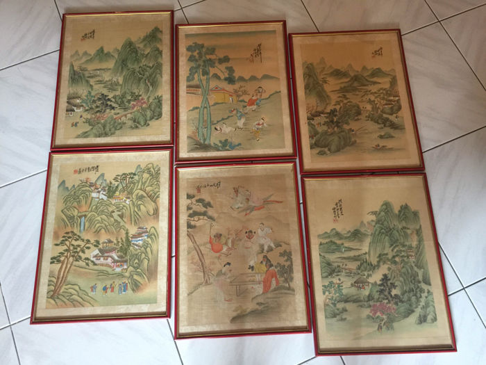 Series of six paintings on silk, signed – China – early 20th century