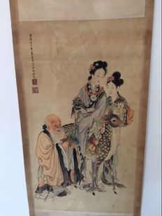 Decorational print reproduction of old painting on silk - China - late 20th century