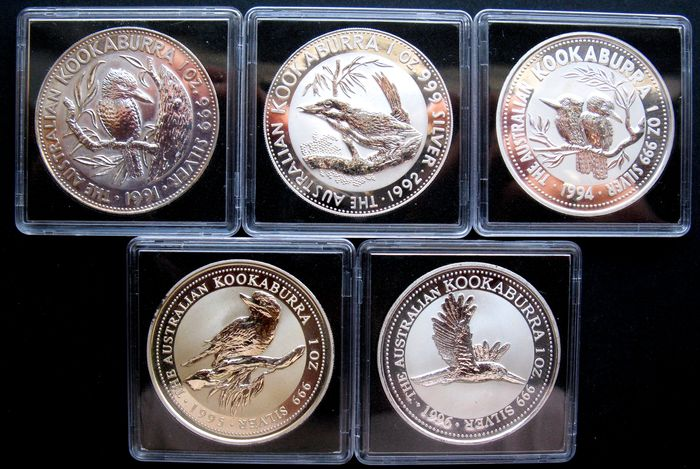 Australia - Kookaburra 1991 to 1996 (5 different) 5x 1 oz silver