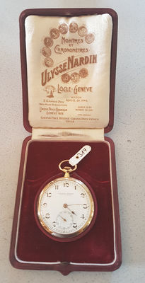 Ullysse Nardin Locle – gold pocket watch  – original case – Switzerland around 1920