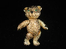 Vintage 1970s gold plated articulated Teddy Bear brooch, pristine, unsigned D'Orlan, Canada