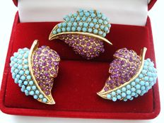 Vintage 1970s - Gold plated Demi Parure - Set of Brooch  + Earrings with Simulated Turquoise & Rubies - Pristine