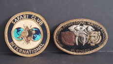 Pair of International Safari Club Badges hand made gold and silver ingot of the Gold Crest. Investments