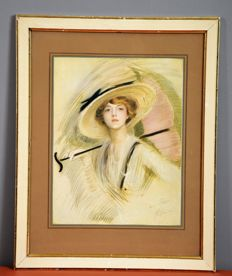 Paul César Helleu  (1859-1927) - Portrait of Peggy Letellier, original etching