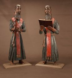 A very interesting pair of two Russian monks - 18/19th century