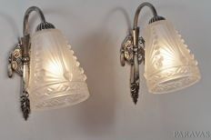 Schneider - Art Deco wall sconces - nickel plated bronze and pressed glass