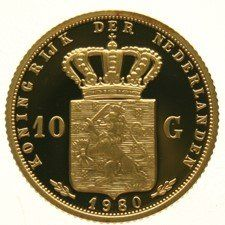 The Netherlands – Re-mint of 10 Guilders 1980 Beatrix – gold