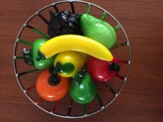 Designer fruit bowl with 8 pieces glass fruit and vegetable (Murano) - 21st century