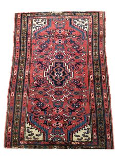Superb Oriental rug: Antique Karadjeh 100 x 76 cm. From about 1940!