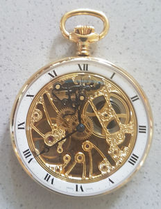 Chrono Swiss - skeletonised heavily decorated pocket watch - men