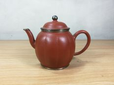 A modern Chinese Teapot Yixing clay with metal rims - China - mid 20th century